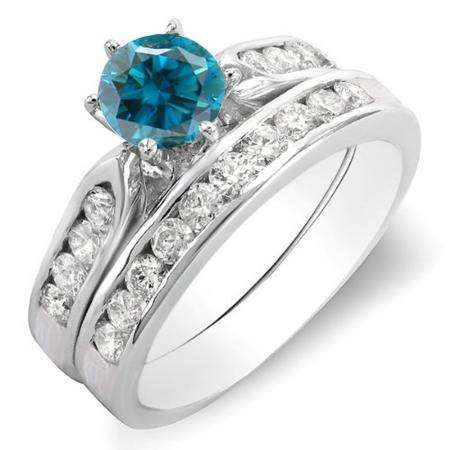 1.00 Carat (ctw) 18k White Gold Round Blue & White Diamond Ladies Bridal Engagement Ring Set With Matching Band 1 CT