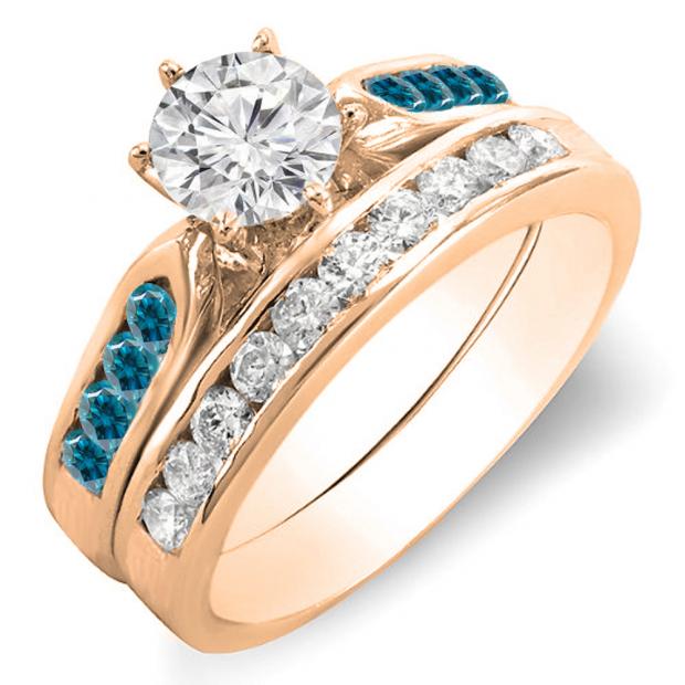 1.00 Carat (ctw) 18k Rose Gold Round Blue & White Diamond Ladies Bridal Engagement Ring Set With Matching Band 1 CT