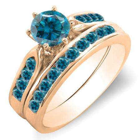 1.00 Carat (ctw) 18k Rose Gold Round Blue Diamond Ladies Bridal Engagement Ring Set With Matching Band 1 CT