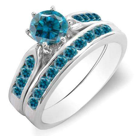 1.00 Carat (ctw) 18k White Gold Round Blue Diamond Ladies Bridal Engagement Ring Set With Matching Band 1 CT