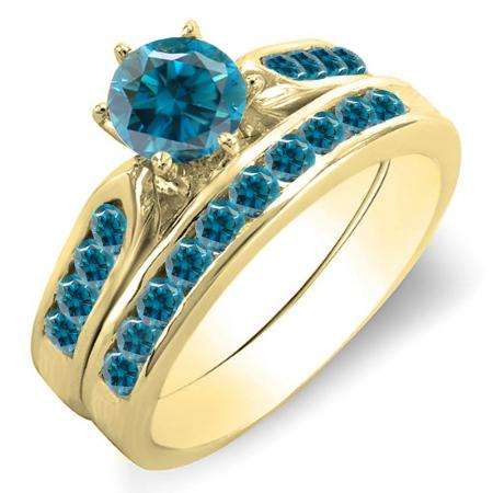 1.00 Carat (ctw) 18k Yellow Gold Round Blue Diamond Ladies Bridal Engagement Ring Set With Matching Band 1 CT