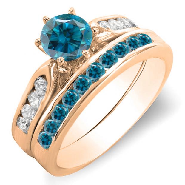 1.00 Carat (ctw) 14k Rose Gold Round Blue & White Diamond Ladies Bridal Engagement Ring Set With Matching Band 1 CT