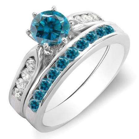 1.00 Carat (ctw) 14k White Gold Round Blue & White Diamond Ladies Bridal Engagement Ring Set With Matching Band 1 CT