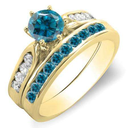 1.00 Carat (ctw) 14k Yellow Gold Round Blue & White Diamond Ladies Bridal Engagement Ring Set With Matching Band 1 CT
