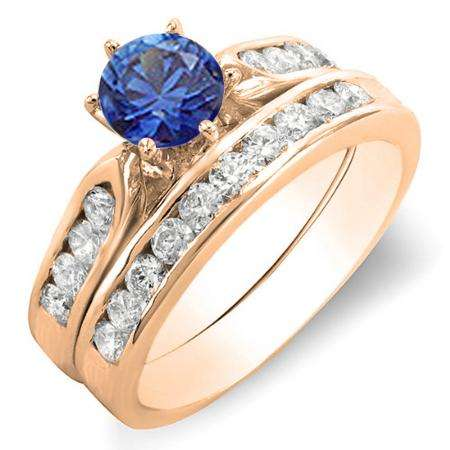 1.00 Carat (ctw) 18k Rose Gold Round Blue Sapphire & White Diamond Ladies Bridal Engagement Ring Set With Matching Band 1 CT