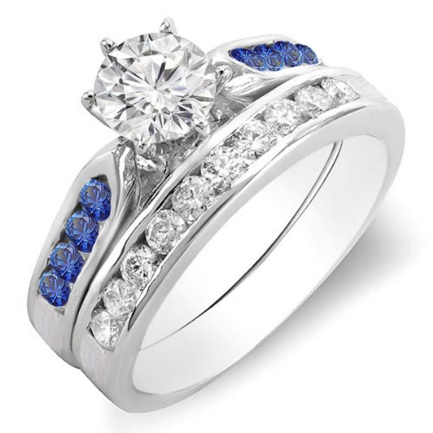 1.00 Carat (ctw) 14k White Gold Round Blue Sapphire & White Diamond Ladies Bridal Engagement Ring Set With Matching Band 1 CT