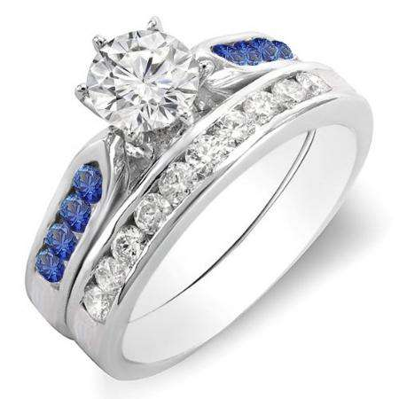 1.00 Carat (ctw) 18k White Gold Round Blue Sapphire & White Diamond Ladies Bridal Engagement Ring Set With Matching Band 1 CT