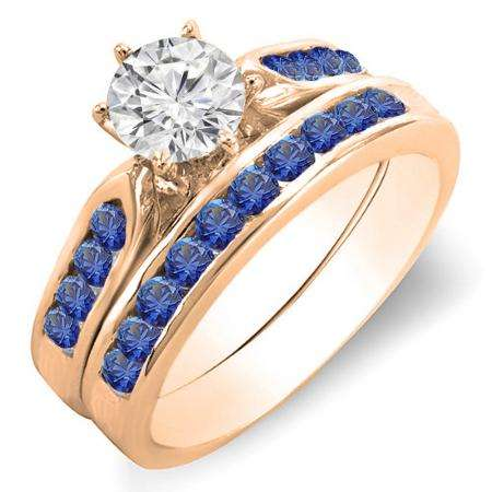 1.00 Carat (ctw) 10k Rose Gold Round Blue Sapphire & White Diamond Ladies Bridal Engagement Ring Set With Matching Band 1 CT