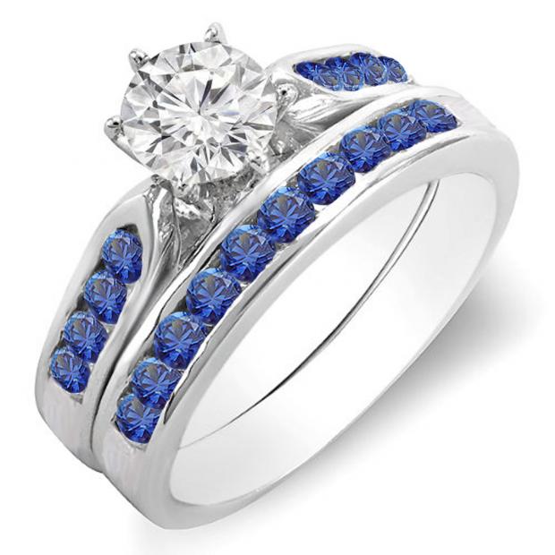 1.00 Carat (ctw) 10k White Gold Round Blue Sapphire & White Diamond Ladies Bridal Engagement Ring Set With Matching Band 1 CT