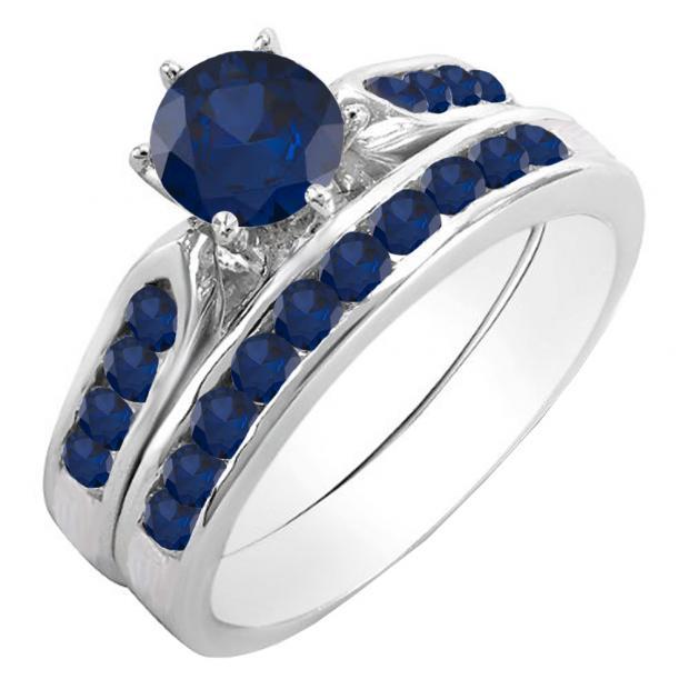 1.00 Carat (ctw) 10k White Gold Round Blue Sapphire Ladies Bridal Engagement Ring Set With Matching Band 1 CT