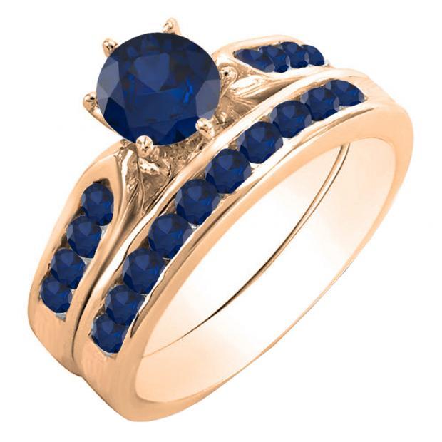 1.00 Carat (ctw) 14k Rose Gold Round Blue Sapphire Ladies Bridal Engagement Ring Set With Matching Band 1 CT