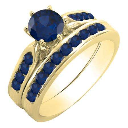 1.00 Carat (ctw) 18k Yellow Gold Round Blue Sapphire Ladies Bridal Engagement Ring Set With Matching Band 1 CT