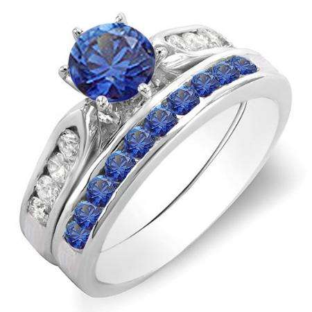 1.00 Carat (ctw) 14k White Gold Round Blue Sapphire & White Diamond Ladies Bridal Engagement Ring Set With Matching Band 1 CT