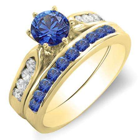 1.00 Carat (ctw) 14k Yellow Gold Round Blue Sapphire & White Diamond Ladies Bridal Engagement Ring Set With Matching Band 1 CT