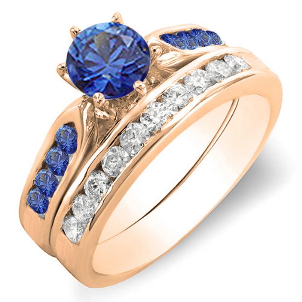 1.00 Carat (ctw) 18k Rose Gold Round Blue Sapphire & White Diamond Ladies Bridal Engagement Ring Set With Matching Band 1 CT