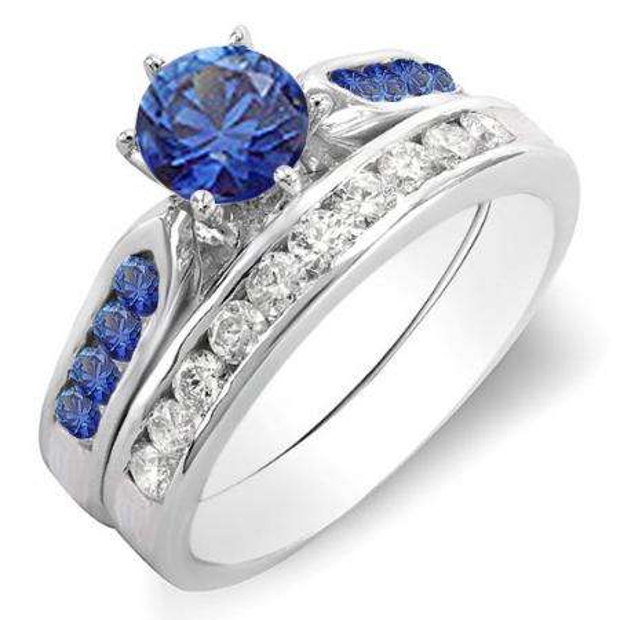 1.00 Carat (ctw) 18k White Gold Round Blue Sapphire & White Diamond Ladies Bridal Engagement Ring Set With Matching Band 1 CT