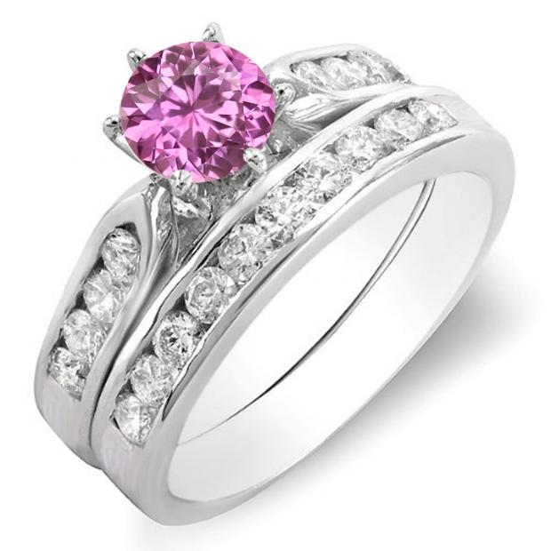 1.00 Carat (ctw) 10k White Gold Round Pink Sapphire & White Diamond Ladies Bridal Engagement Ring Set With Matching Band 1 CT