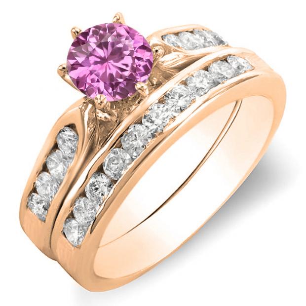 1.00 Carat (ctw) 18k Rose Gold Round Pink Sapphire & Rose Diamond Ladies Bridal Engagement Ring Set With Matching Band 1 CT