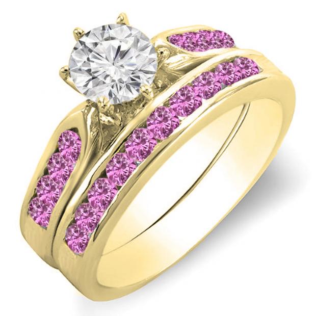 1.00 Carat (ctw) 10k Yellow Gold Round Pink Sapphire & White Diamond Ladies Bridal Engagement Ring Set With Matching Band 1 CT