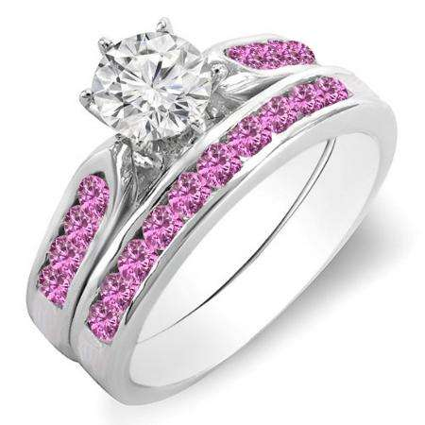 1.00 Carat (ctw) 14k White Gold Round Pink Sapphire & White Diamond Ladies Bridal Engagement Ring Set With Matching Band 1 CT