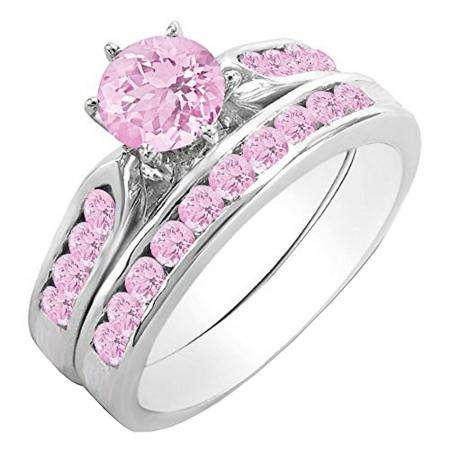 1.00 Carat (ctw) 14k White Gold Round Pink Sapphire Ladies Bridal Engagement Ring Set With Matching Band 1 CT