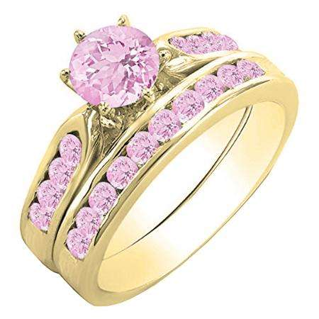 1.00 Carat (ctw) 14k Yellow Gold Round Pink Sapphire Ladies Bridal Engagement Ring Set With Matching Band 1 CT