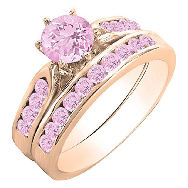 1.00 Carat (ctw) 18k Rose Gold Round Pink Sapphire Ladies Bridal Engagement Ring Set With Matching Band 1 CT