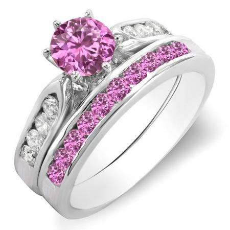1.00 Carat (ctw) 10k White Gold Round Pink Sapphire & White Diamond Ladies Bridal Engagement Ring Set With Matching Band 1 CT