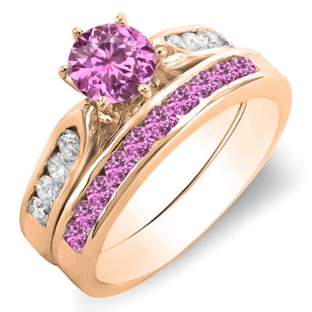 1.00 Carat (ctw) 18k Rose Gold Round Pink Sapphire & White Diamond Ladies Bridal Engagement Ring Set With Matching Band 1 CT