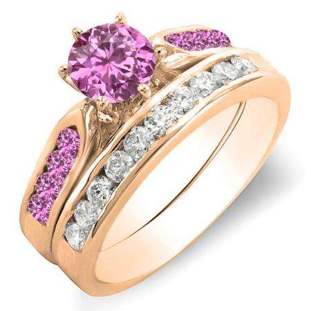 1.00 Carat (ctw) 18k Rose Gold Round Pink Sapphire & White Diamond Ladies Bridal Engagement Ring Set With Matching Band 1 CT