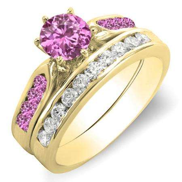 1.00 Carat (ctw) 18k Yellow Gold Round Pink Sapphire & White Diamond Ladies Bridal Engagement Ring Set With Matching Band 1 CT