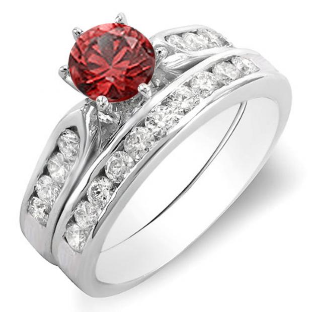 1.00 Carat (ctw) 14k White Gold Round Red Ruby & White Diamond Ladies Bridal Engagement Ring Set With Matching Band 1 CT