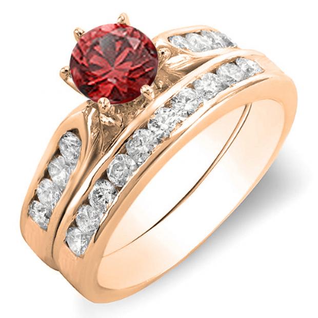 1.00 Carat (ctw) 18k Rose Gold Round Red Ruby & Rose Diamond Ladies Bridal Engagement Ring Set With Matching Band 1 CT