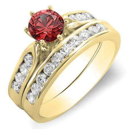 1.00 Carat (ctw) 18k Yellow Gold Round Red Ruby & Yellow Diamond Ladies Bridal Engagement Ring Set With Matching Band 1 CT