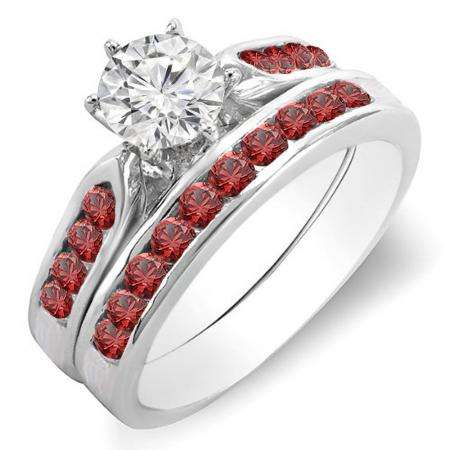 1.00 Carat (ctw) 14k White Gold Round Red Ruby & White Diamond Ladies Bridal Engagement Ring Set With Matching Band 1 CT