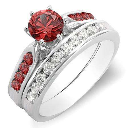 1.00 Carat (ctw) 10k White Gold Round Red Ruby & White Diamond Ladies Bridal Engagement Ring Set With Matching Band 1 CT