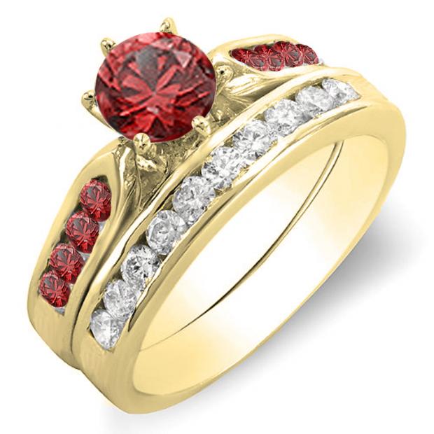 1.00 Carat (ctw) 10k Yellow Gold Round Red Ruby & White Diamond Ladies Bridal Engagement Ring Set With Matching Band 1 CT