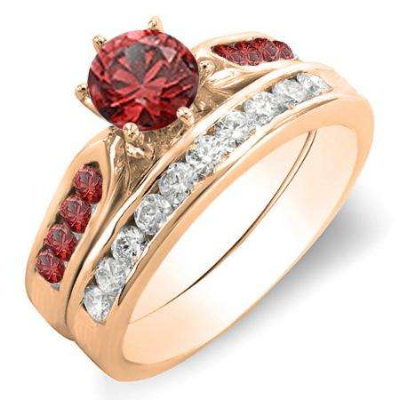 1.00 Carat (ctw) 18k Rose Gold Round Red Ruby & White Diamond Ladies Bridal Engagement Ring Set With Matching Band 1 CT