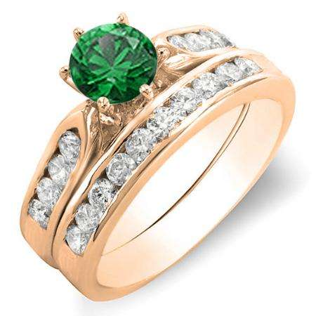 1.00 Carat (ctw) 18k Rose Gold Round Green Emerald & Rose Diamond Ladies Bridal Engagement Ring Set With Matching Band 1 CT