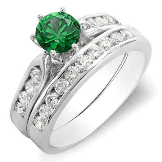 1.00 Carat (ctw) 18k White Gold Round Green Emerald & White Diamond Ladies Bridal Engagement Ring Set With Matching Band 1 CT