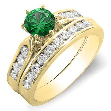 1.00 Carat (ctw) 18k Yellow Gold Round Green Emerald & Yellow Diamond Ladies Bridal Engagement Ring Set With Matching Band 1 CT