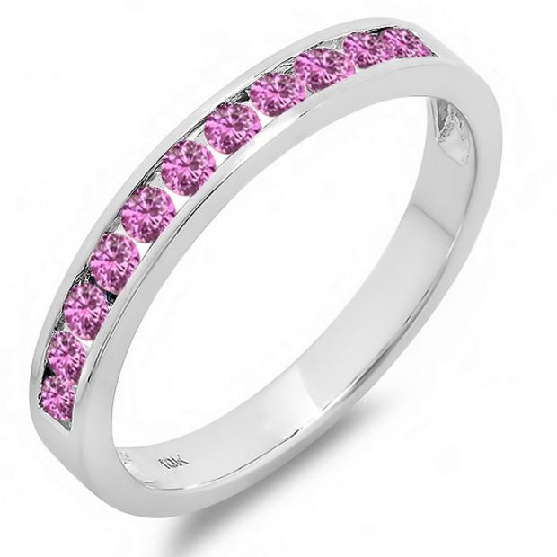 0.50 Carat (ctw) 10k White Gold Round Pink Sapphire Ladies Anniversary Wedding Stackable Ring Band 1/2 CT