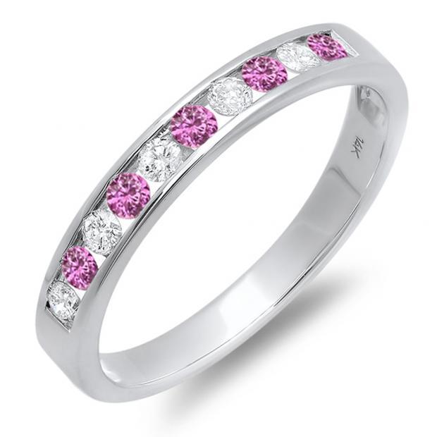 0.40 Carat (ctw) 14k White Gold Round Pink Sapphire & White Diamond Ladies Anniversary Wedding Stackable Ring Band