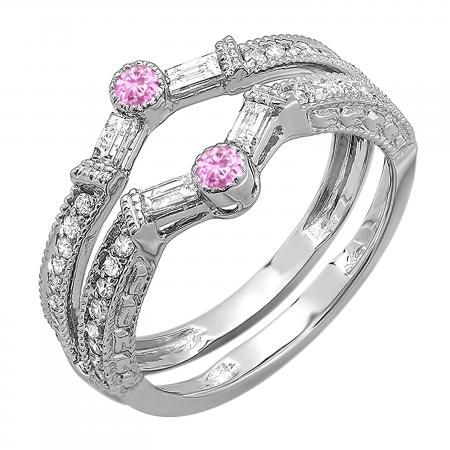 0.55 Carat (ctw) 10k White Gold Round & Baguette White Diamond & Pink Sapphire Ladies Anniversary Wedding Enhancer Guard Band 1/2 CT