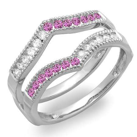0.45 Carat (ctw) 14k White Gold Round White Diamond & Pink Sapphire Ladies Millgrain Anniversary Wedding Band Guard Double Ring 1/2 CT