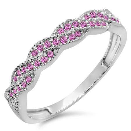 0.25 Carat (ctw) 10k White Gold Round Pink Sapphire Ladies Anniversary Wedding Stackable Band Swirl Ring 1/4 CT