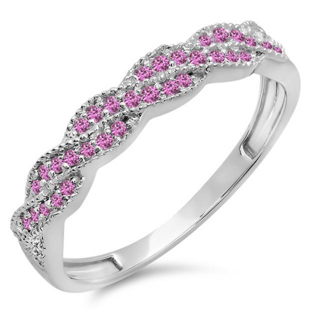0.25 Carat (ctw) 18k White Gold Round Pink Sapphire Ladies Anniversary Wedding Stackable Band Swirl Ring 1/4 CT