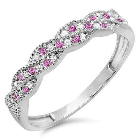 0.25 Carat (ctw) 18k White Gold Round White Diamond & Pink Sapphire Ladies Anniversary Wedding Stackable Band Swirl Ring 1/4 CT
