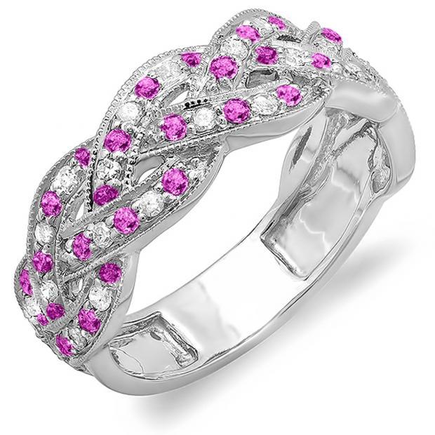 0.58 Carat (ctw) 10k White Gold Round White Diamond & Pink Sapphire Ladies Anniversary Wedding Matching Band Stackable Swirl Ring 1/2 CT