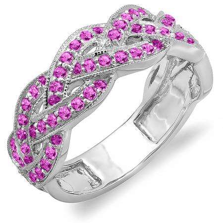 0.58 Carat (ctw) 10k White Gold Round Pink Sapphire Ladies Anniversary Wedding Matching Band Stackable Swirl Ring 1/2 CT